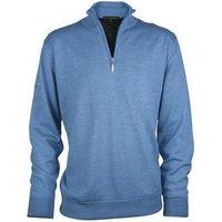 Greg Norman Lined Zip Neck Merino Sweater - Polar Blue Medium