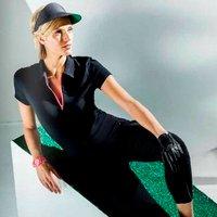 Lija Ladies Jersey Zip Polo Shirt, Black/Virtua X Large (L2)