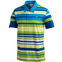 Puma Golf Junior Roadmap Stripe Polo Shirt Bright White / Gecko Green Small