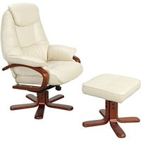 Macau Swivel Chair and Footstool in Cream