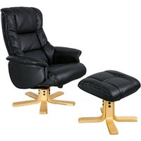 Shanghai Black Leather Recliner Chair and Footstool