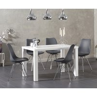 Atlanta 120cm White High Gloss Dining Table with Calvin Chrome Leg Chairs