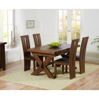 Bordeaux 160cm Dark Solid Oak Extending Dining Table with Montreal Chairs