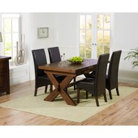 Bordeaux 160cm Dark Solid Oak Extending Dining Table with WNG Chairs