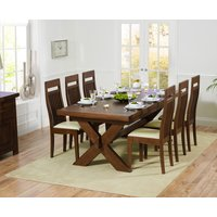 Bordeaux 200cm Dark Solid Oak Extending Dining Table with Monaco Chairs