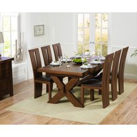 Bordeaux 200cm Dark Solid Oak Extending Dining Table with Montreal Chairs