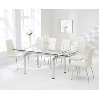 Calgary 140cm Extending Glass Dining Table with Cream Calgary Chairs