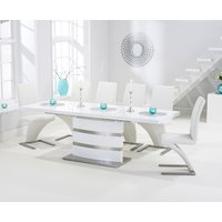 Babington 160cm White High Gloss Extending Dining Table with Ivory White Hampstead Z Chairs