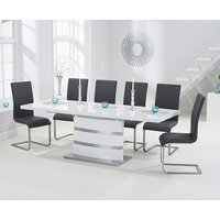 Babington 160cm White High Gloss Extending Dining Table with Malaga Chairs