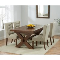 Bordeaux 200cm Dark Solid Oak Extending Dining Table with Safia Chairs