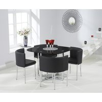 Algarve Black Stowaway Dining Table with Black High Back Stools