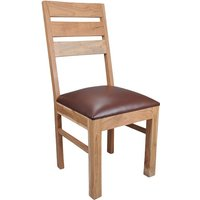Alwar Solid Acacia and Leather Kitchen Dining Chairs  Pair