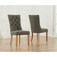 Anais Grey Fabric Oak Leg Dining Chairs  Pair