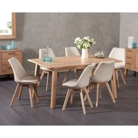 Agata 160cm Oak Dining Table with Demi Fabric Chairs
