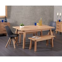 Agata 160cm Oak Dining Table with Ophelia Fabric Square Leg Chairs and Agata Benches