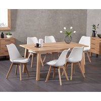 Agata 160cm Oak Dining Table with Demi Faux Leather Chairs