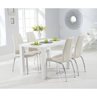 Athens 120cm Matt White Dining Table with Cavello Chairs