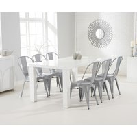 Atlanta 160cm White High Gloss Dining Table with Tolix Industrial Style Dining Chairs