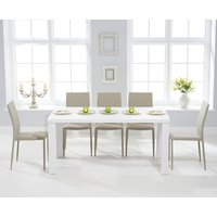 Atlanta 160cm White High Gloss Dining Table with Beige Atlanta Stackable Chairs