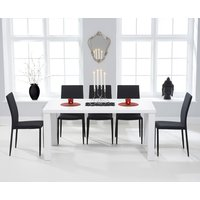 Atlanta 160cm White High Gloss Dining Table with Black Atlanta Stackable Chairs