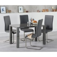 Atlanta 120cm Dark Grey High Gloss Dining Table with Malaga Chairs