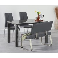 Atlanta 120cm Dark Grey High Gloss Dining Table with Cavello Chairs and Malaga Grey Bench