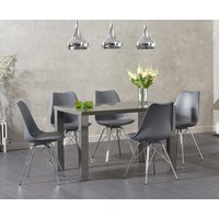 Atlanta 120cm Dark Grey High Gloss Dining Table with Calvin Chrome Leg Chairs