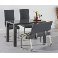Atlanta 120cm Dark Grey High Gloss Dining Table with Malaga Chairs and Malaga Grey Bench