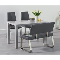 Atlanta 120cm Light Grey High Gloss Dining Table with Cavello Chairs and Malaga Grey Bench