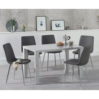 Atlanta 120cm Light Grey High Gloss Dining Table with Hamburg Faux Leather Chairs