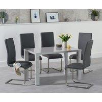 Atlanta 120cm Light Grey Gloss Dining Table with Malaga Chairs