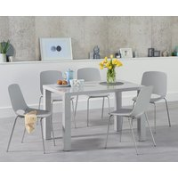 Atlanta 120cm Light Grey High Gloss Dining Table with Nordic Chrome Leg Chairs