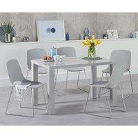 Atlanta 120cm Light Grey High Gloss Dining Table with Nordic Chrome Sled Leg Chairs