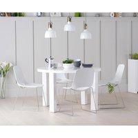Atlanta 120cm Round High Gloss Table with Nordic Chrome Sled Leg Chairs