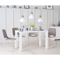 Atlanta 120cm White High Gloss Table with Nordic Chrome Sled Leg Chairs