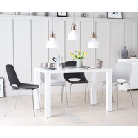 Atlanta 120cm White High Gloss Table with Nordic Chrome Leg Chairs