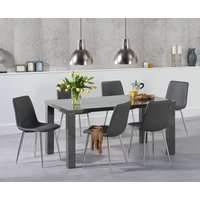 Atlanta 160cm Dark Grey High Gloss Dining Table with Hamburg Faux Leather Chrome Leg Chairs