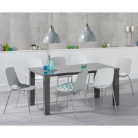 Atlanta 160cm Dark Grey High Gloss Dining Table with Nordic Chrome Leg Chairs
