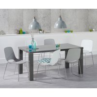 Atlanta 160cm Dark Grey High Gloss Dining Table with Nordic Chrome Sled Leg Chairs