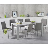 Atlanta 160cm Light Grey High Gloss Dining Table with Hamburg Fabric Chrome Chairs