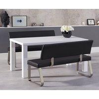 Atlanta 160cm White High Gloss Dining Table with Black Malaga Benches