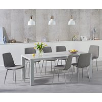 Atlanta 180cm Light Grey High Gloss Dining Table with Hamburg Fabric Chairs