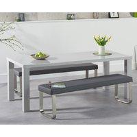Atlanta 180cm Light Grey High Gloss Dining Table with Atlanta Grey Benches