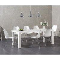 Atlanta 180cm White High Gloss Dining Table with Calvin Chrome Leg Chairs