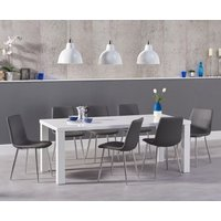 Atlanta 180cm White High Gloss Dining Table with Hamburg Faux Leather Chairs