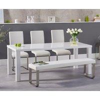 Atlanta 180cm White High Gloss Dining Table with Malaga Chairs and Atlanta White Bench