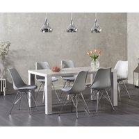 Atlanta 180cm Light Grey High Gloss Dining Table with Calvin Chrome Leg Chairs
