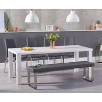 Atlanta 180cm White High Gloss Dining Table with Cavello Chairs and Atlanta Grey Bench