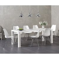 Atlanta 200cm White High Gloss Dining Table with Calvin Chrome Leg Chairs