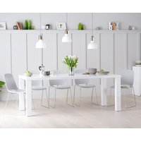 Atlanta 200cm White High Gloss Table with Nordic Chrome Sled Leg Chairs
